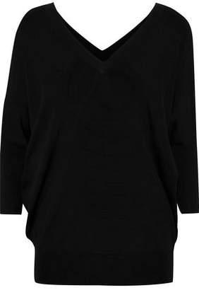 Derek Lam Crepe-paneled Cashmere And Silk-blend Sweater