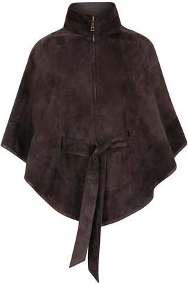 Zut London Suede Leather Cape With Belt - Dark Grey