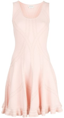 Alexander McQueen abstract pattern ruffled mini dress