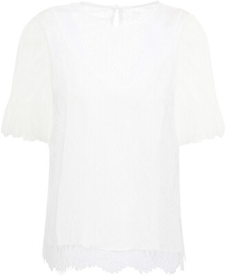 CAMI NYC The Ophelia Ruffle-trimmed Chantilly Lace Top