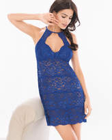 Shimmer Floral Lace Allover Lace Chemise Bright Blue