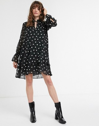 And other stories & polka dot mini smock dress in black-Beige
