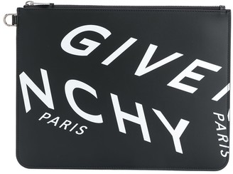 Givenchy Refracted Logo zip clutch