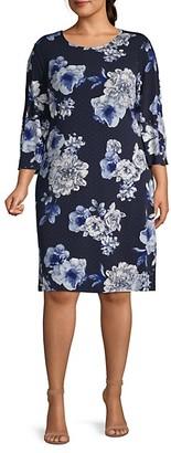 Tommy Hilfiger Plus Polka Dot Moody Floral-Print Dress