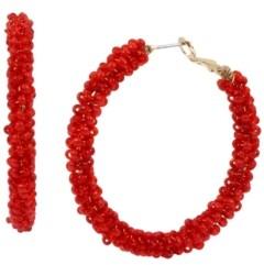 Kenneth Cole New York Gold-Tone Woven Bead Hoop Earrings