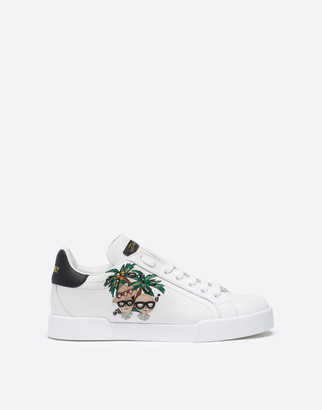 Dolce & Gabbana Portofino Sneakers In Nappa Calfskin With Palma Stylist Patches
