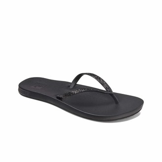 Reef Women's Sandals Cushion Bounce Stargazer   Glitter Flip Flops for Women with Cushion Bounce Footbed   Black   Size 7