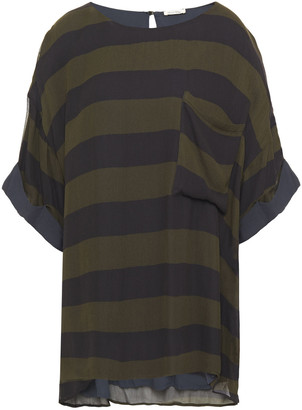 American Vintage Oversized Striped Chiffon Top