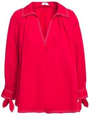 Claudie Pierlot Oversized Gathered Knotted Cotton-poplin Shirt