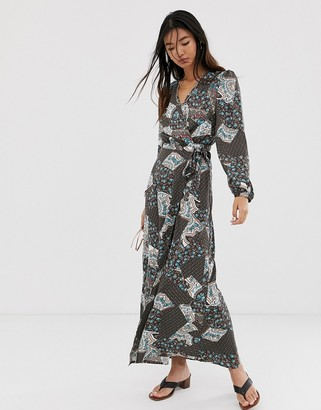 Only paisley wrap maxi dress