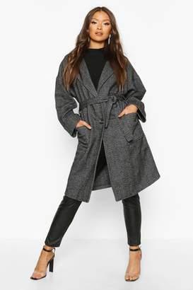 boohoo Herringbone Belted Wool Look Coat