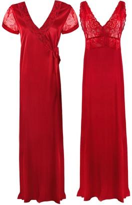 The Orange Tags Ladies Long Chemise Night Dress Nightdress Satin Nightie Slip Robe Gown 16-18-Red-XL (16-18)