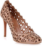 Alaia Beige leather laser-cut pump