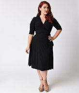 Kiyonna Plus Size Black Noir Essential Wrap Dress