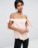 Asos Minimal Off Shoulder Top in Crepe with Tie Sleeve