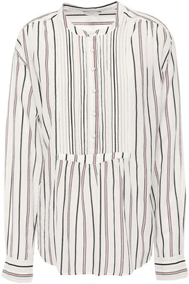 Joie Morit Pintucked Striped Cotton-blend Blouse