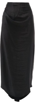A.W.A.K.E. Mode Draped Asymmetric Satin Skirt - Black