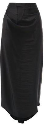 A.W.A.K.E. Mode Draped Asymmetric Satin Skirt - Black