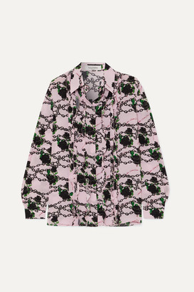 Valentino Ruffled Printed Silk Crepe De Chine Blouse - Pink
