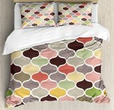 Modern Decor Duvet Cover Set by Ambesonne, Seamless Oriental Geometric Morrocan Doodle Pattern with Dots and Blank Colors Art, 3 Piece Bedding Set with Pillow Shams, Queen / Full, Multi