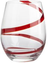 Pier 1 Imports Red Spiral Line Stemless Wine Glass
