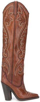 DSQUARED2 Western stitching knee high boots