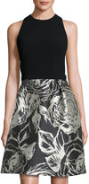 Theia Jewel-Neck Sleeveless Cocktail Dress, Black/Champagne