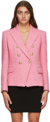 Balmain Pink Tweed Six Button Blazer