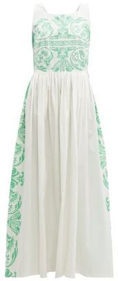 Le Sirenuse Le Sirenuse, Positano - Julia Printed Cotton Poplin Maxi Dress - Womens - Green White