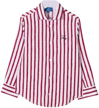 Fay White Teen Shirt With Red Stripes