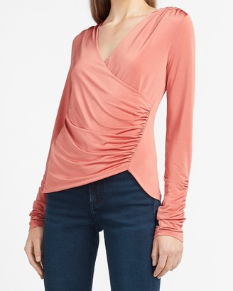 Express Ruched Wrap Front V-Neck Tee