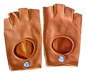 Hermes Orange Leather Gloves
