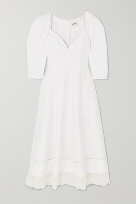 KHAITE Dina Lace-trimmed Cotton-poplin Midi Dress - White