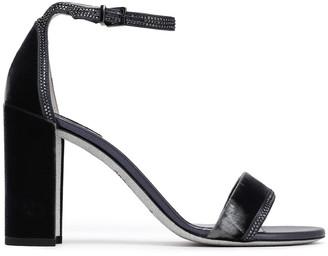 Rene Caovilla Rene' Caovilla Crystal-embellished Satin-trimmed Velvet Sandals