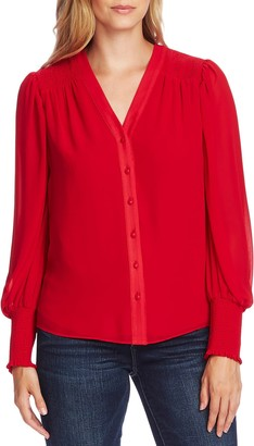 Vince Camuto Smocked Cuff Long Sleeve Blouse