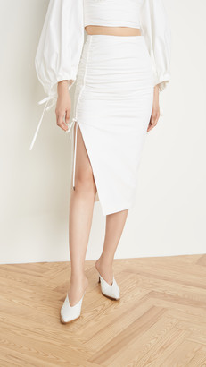 Prabal Gurung Poplin Side Ruched Skirt