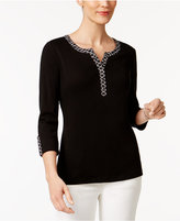 Karen Scott Petite Cotton Printed-Trim Henley Top, Only at Macy's