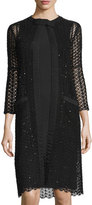 Oscar de la Renta 3/4-Sleeve Open-Knit Coat, Black