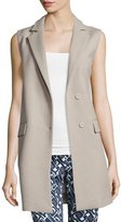 Peserico Snap-Front Long Vest, Stone