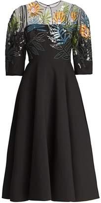 Valentino Illusion Sequin Wool & Silk Fit-&-Flare Dress