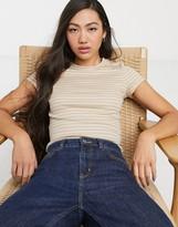 Monki striped rib t-shirt in beige