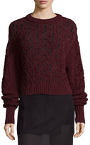 Public School Seed-Stitched Cable-Knit Pullover Sweater, Burgundy