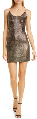 Alice + Olivia Delora Metallic Snake Print Body-Con Minidress