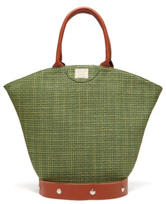 Gabriel For Sach - Tulip Leather-trim Organic-cotton Canvas Tote Bag - Womens - Dark Green