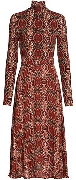 Alice + Olivia Clare Printed Turtleneck Midi Dress