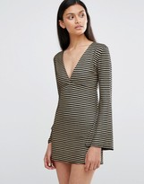 Love Plunge Neck Bell Sleeve Dress In Stripe