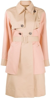 Cédric Charlier Two Tone Belted Trench Coat
