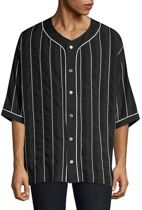 Études Harlem Stripe Button-Down Baseball Shirt