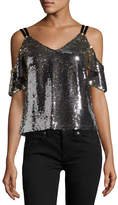 Nanette Lepore Cold-Shoulder Sparkle Sequin Top