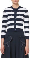 Carolina Herrera Nautical-Stripe 3/4-Sleeve Cardigan, Navy/White